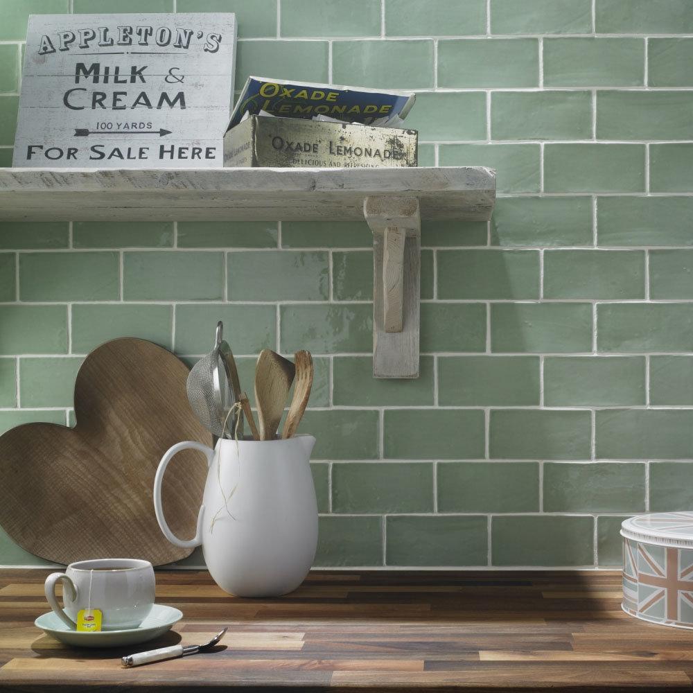 Chesham Rustic Green Gloss Ceramic Wall Tiles 150 x 75mm Large Image