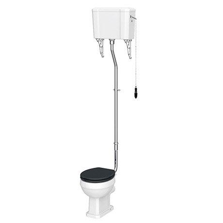 Chatsworth High Level Traditional Toilet w. Graphite Seat & Black Flush Pull Handle
