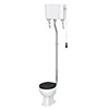 Chatsworth High Level Traditional Toilet w. Graphite Seat & Black Flush Pull Handle profile small image view 1