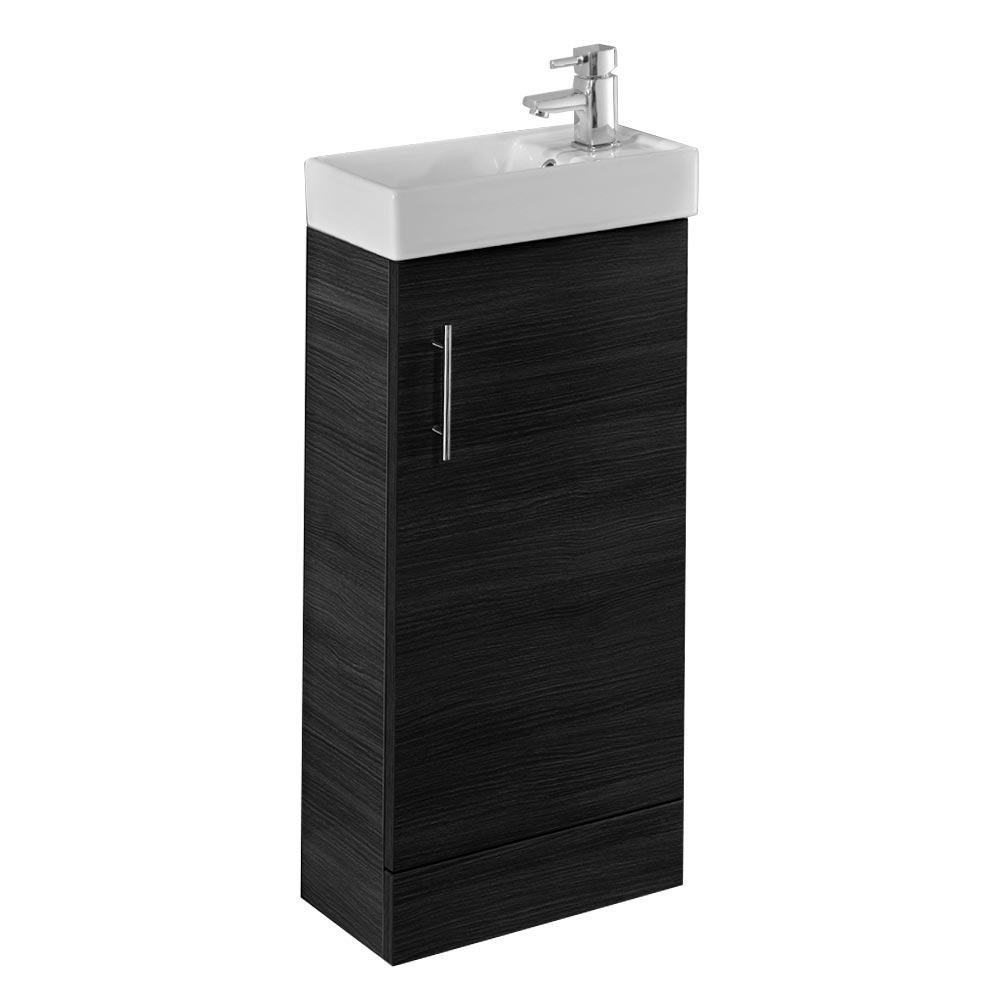 Valencia Mini SQ 1-Door Black Ash Vanity Unit - 400mm Wide Large Image