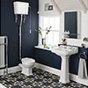 Carlton High Level Bathroom Suite - High Level Toilet Inc. 2TH Basin + Pedestal profile small image view 1