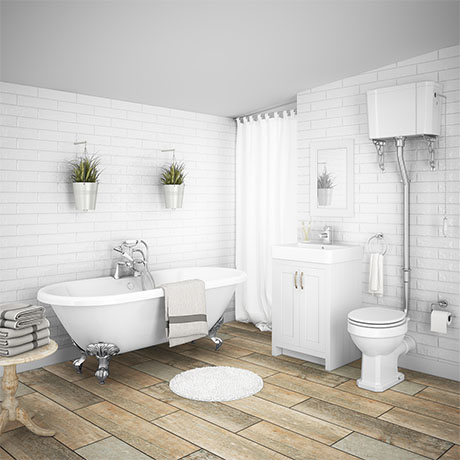 Chatsworth High Level White Roll Top Bathroom Suite
