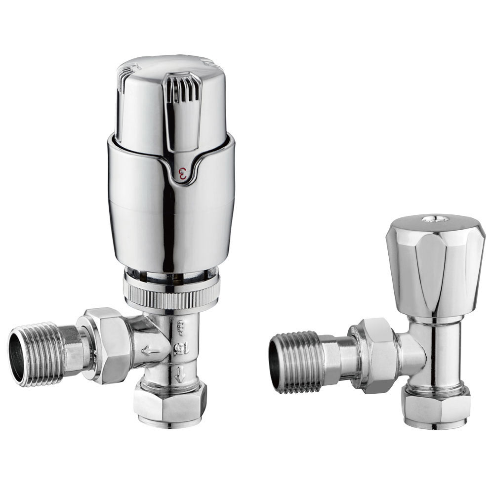 Apollo Modern Chrome Angled Thermostatic Radiator Valves profile large image view 1