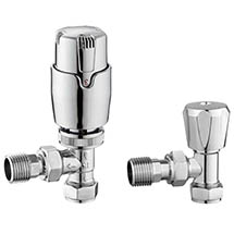 Apollo Modern Chrome Angled Thermostatic Radiator Valves Medium Image