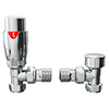 Monza Modern Chrome Angled Thermostatic Radiator Valves profile small image view 1
