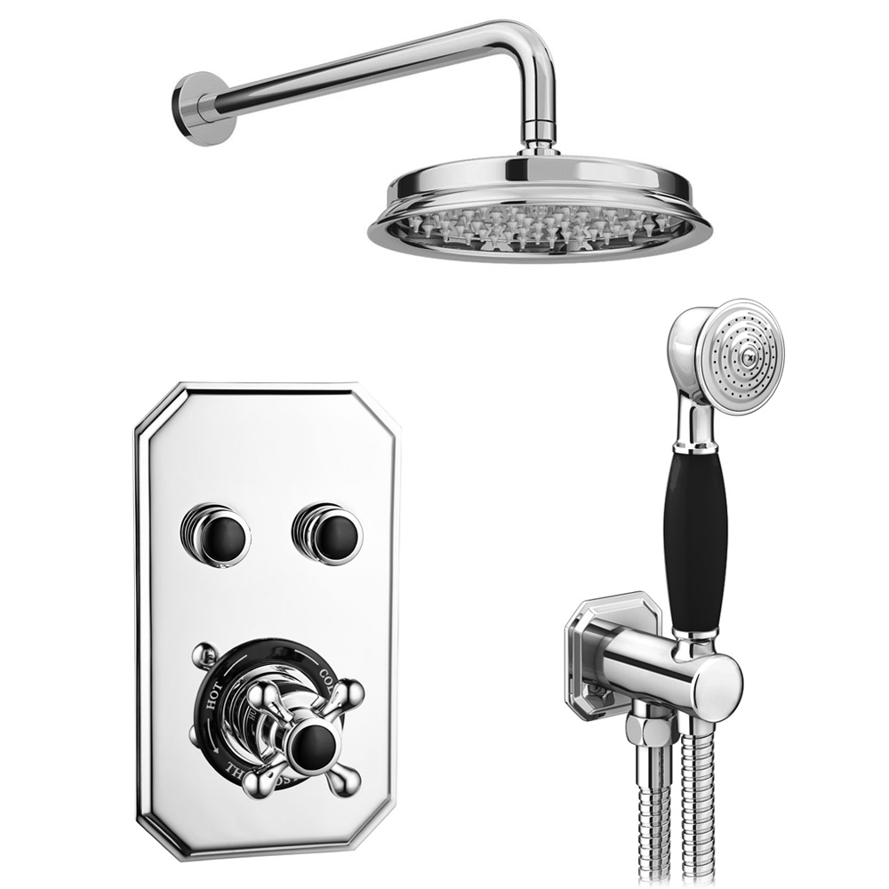 Chatsworth 1928 Black Traditional Push-Button Shower Valve Pack with Handset + Rainfall Shower Head
