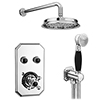 Chatsworth 1928 Black Traditional Push-Button Shower Valve Pack with Handset + Rainfall Shower Head profile small image view 1