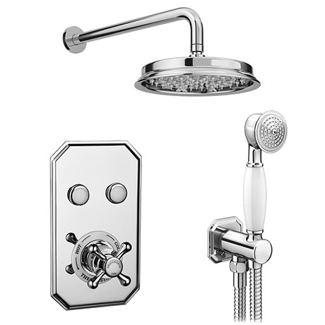 Chatsworth 1928 Traditional Push-Button Shower Valve Pack with Handset + Rainfall Shower Head