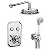 Chatsworth 1928 Traditional Push-Button Shower Valve Pack with Handset + Rainfall Shower Head profile small image view 1