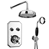 """Chatsworth 1928 Black Traditional Push-Button Shower System with Large Handset + 8"""" Rainfall Shower Head profile small image view 1"""