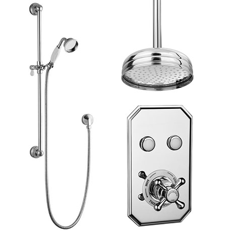 Chatsworth 1928 Traditional Push-Button Shower Pack with Slide Rail Kit + Ceiling Mounted Head
