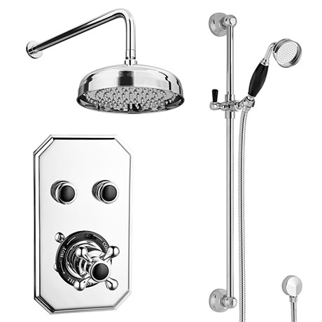 Chatsworth 1928 Black Traditional Push-Button Shower Pack with Slide Rail Kit + Wall Mounted Head