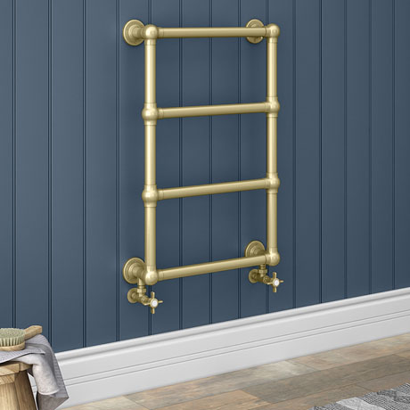 Chatsworth Traditional 498 x 748 Brushed Brass Wall Mounted Heated Towel Rail
