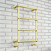 Chatsworth Traditional 498 x 748 Brushed Brass Wall Mounted Heated Towel Rail profile small image view 1