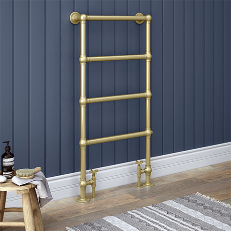 Chatsworth Traditional 598 x 1194 Brushed Brass Floor Mounted Heated Towel Rail