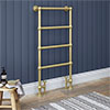 Chatsworth Traditional 598 x 1194 Brushed Brass Floor Mounted Heated Towel Rail profile small image view 1