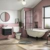Chatsworth Traditional Shower Bath Suite - 1700mm with Matt Black Grid Screen + Leg Set profile small image view 1