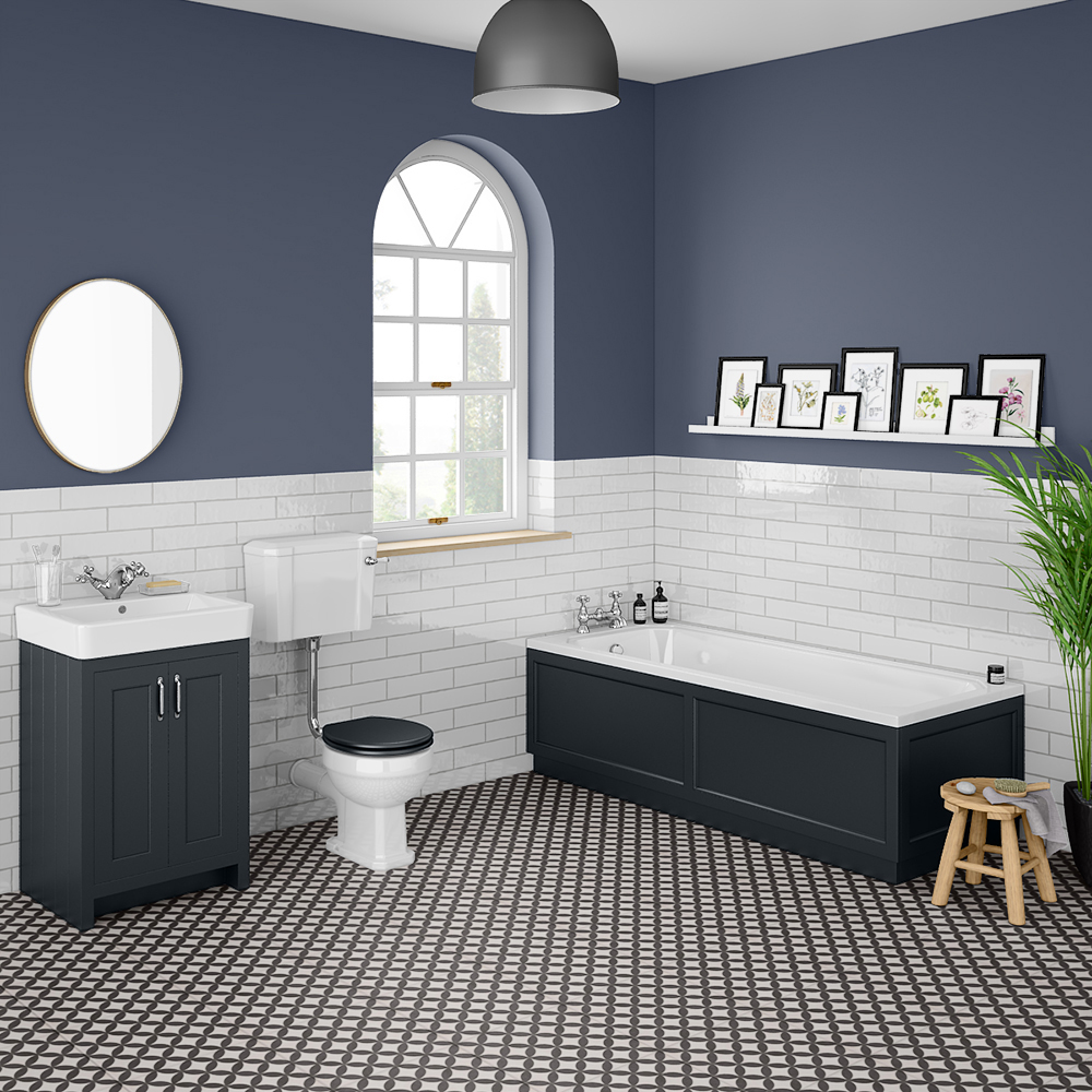 Chatsworth Graphite Bathroom Suite Inc. 1700 x 700 Bath with Panels