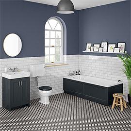 Chatsworth Graphite Bathroom Suite Inc. 1700 x 700 Bath with Panels