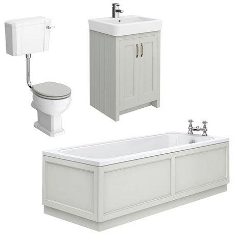 Chatsworth Grey Bathroom Suite Inc. 1700 x 700 Bath with Panels