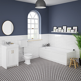 Chatsworth White Bathroom Suite inc. 1700 x 700 Bath with Panels