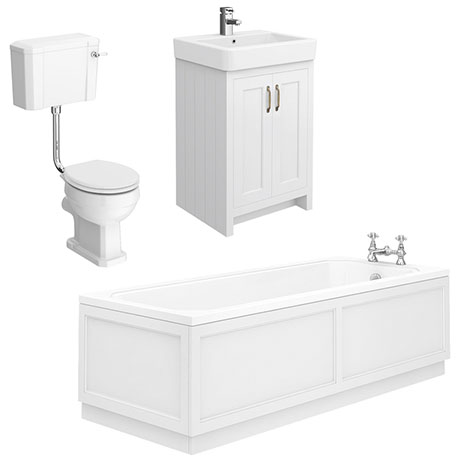 Chatsworth White Bathroom Suite Inc. 1700 x 700 Bath with Panels