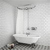 Chatsworth 1200 x 630mm Oval Shower Curtain Rail with 200mm Rose + Exposed Shower Valve profile small image view 1