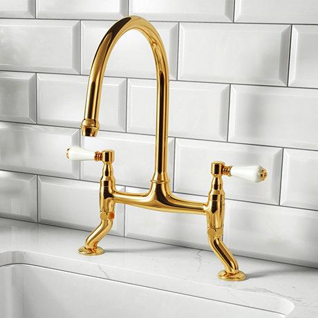 Chatsworth Antique Gold Traditional Bridge Lever Kitchen Sink Mixer