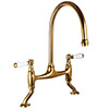 Chatsworth Antique Gold Traditional Bridge Lever Kitchen Sink Mixer profile small image view 1