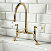 Chatsworth Gold Traditional Bridge Lever Kitchen Sink Mixer profile small image view 1
