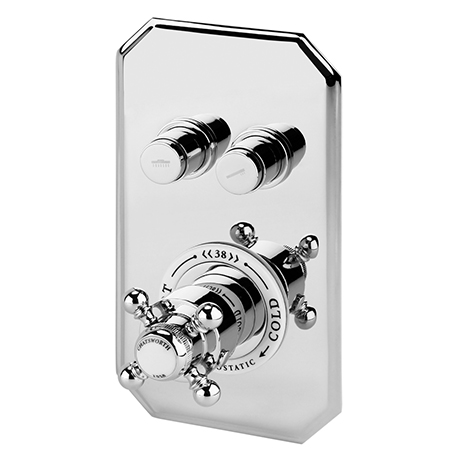 Chatsworth Traditional Twin Push-Button Shower Valve with 2 Outlets
