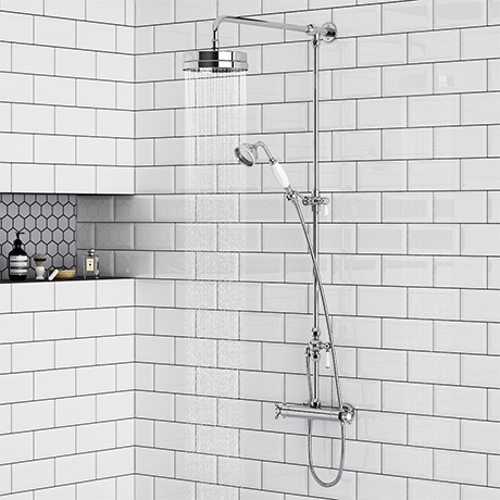 Chatsworth Traditional Crosshead Top Outlet Thermostatic Bar Shower Valve Inc. Rigid Riser Kit