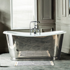 Versailles 1680 x 735mm Roll Top Cast Iron Mirror-Finish Bateau Bath profile small image view 1