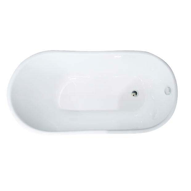 Petite 1350 x 700mm Slipper Roll Top Cast Iron Bath 0TH with Chrome Feet  In Bathroom Large Image