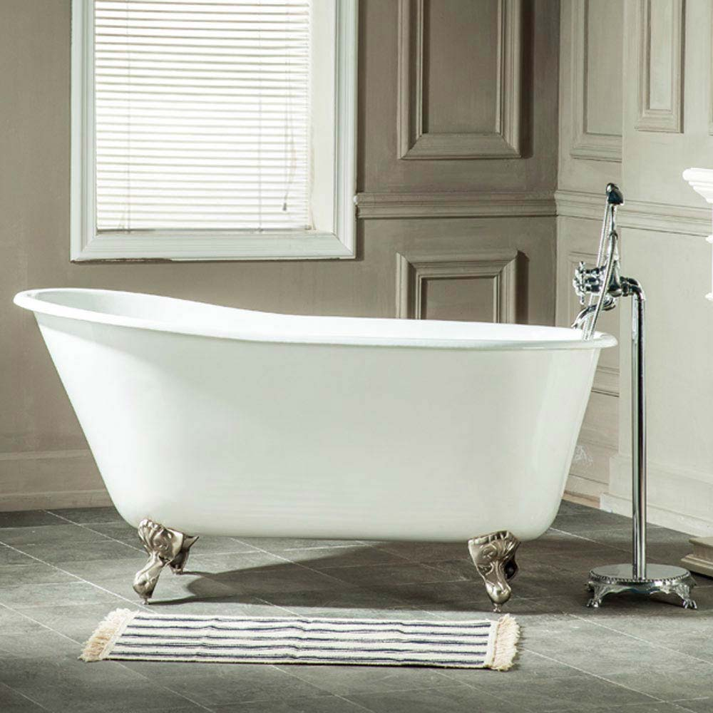 Petite 1350 x 700mm Slipper Roll Top Cast Iron Bath 0TH with Chrome Feet Large Image