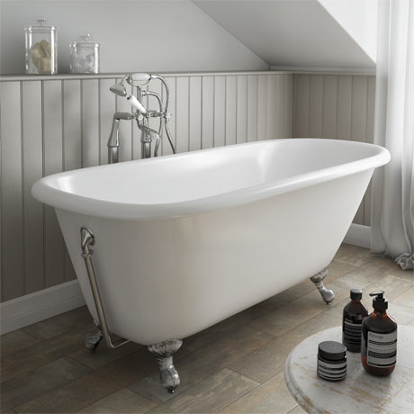 Wandsworth 1680 x 770mm Single Ended Roll Top Cast Iron Bath with Chrome Feet