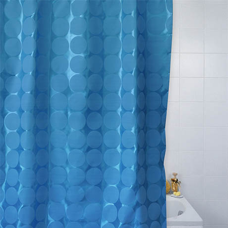 Circles W1800 x H1800mm Polyester Shower Curtain - Blue