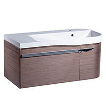 Roper Rhodes Cirrus 900mm Wall Mounted Unit & Basin - Fineline Gray - Right Hand
