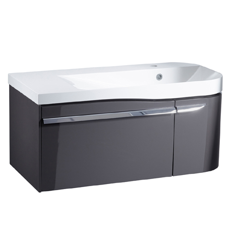 Roper Rhodes Cirrus 900mm Wall Mounted Unit & Basin - Gloss Clay - Right Hand