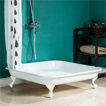 Traditional 1060mm Square Cast Iron Shower Tray with White Ball & Claw Feet Medium Image