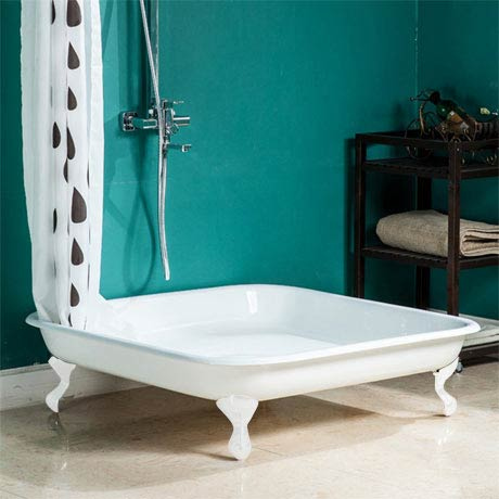 Traditional 1060mm Square Cast Iron Shower Tray with White Ball & Claw Feet