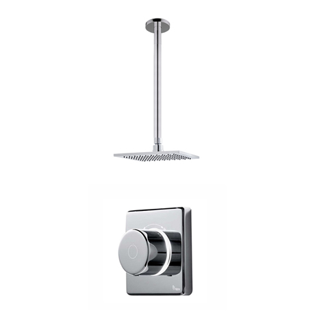 Bathroom Brands Contemporary 2025 Single Outlet Digital Shower Set with Ceiling Arm + Square Fixed H
