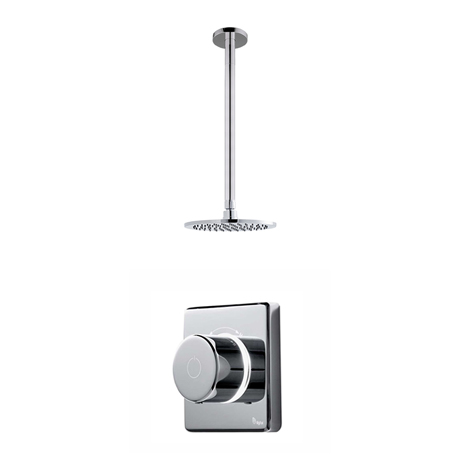 Bathroom Brands Contemporary 2025 Single Outlet Digital Shower Set with Ceiling Arm + Round Fixed He