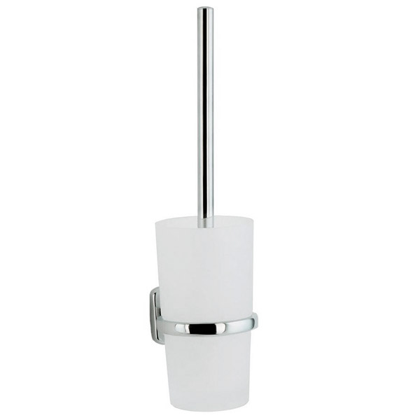 Smedbo Cabin wall mounted Toilet Brush and Frosted Glass Container - Chrome Plated - CK333 Large Image