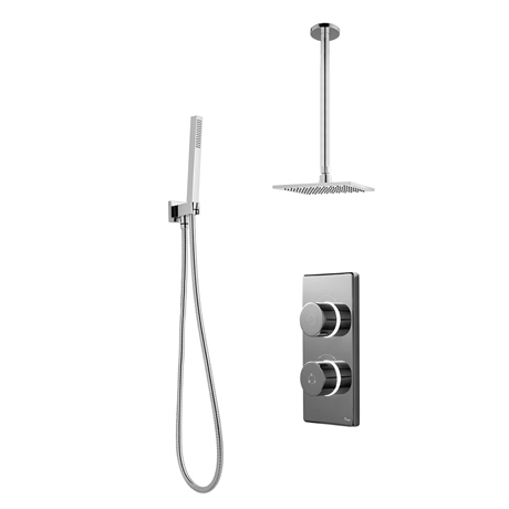 Bathroom Brands Contemporary 2025 Dual Outlet Digital Shower Set with Ceiling Arm, Shower Kit + Squa