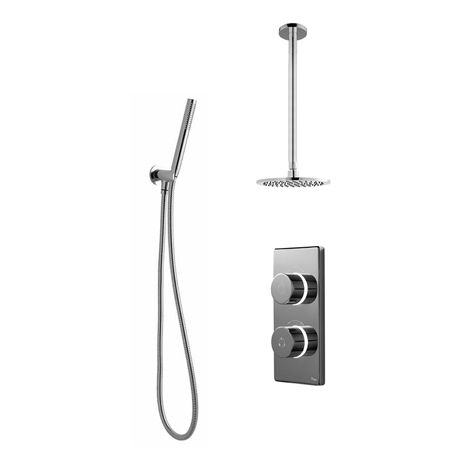 Bathroom Brands Contemporary 2025 Dual Outlet Digital Shower Set with Ceiling Arm, Shower Kit + Roun