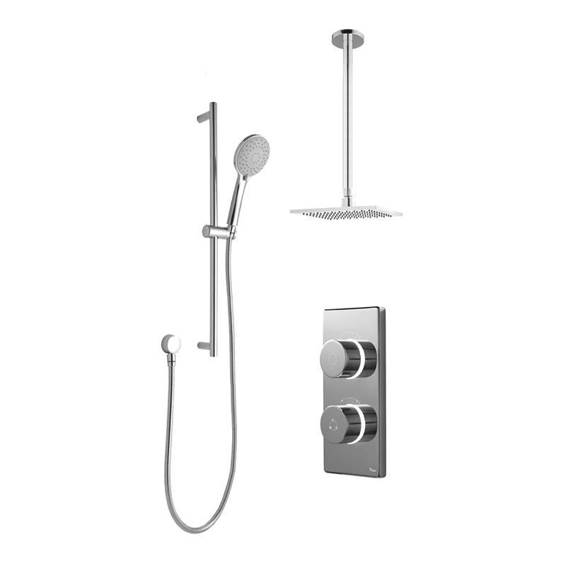 Bathroom Brands Contemporary 2025 Dual Outlet Digital Shower Set with Ceiling Arm, Slide Bar + Square Fixed Head