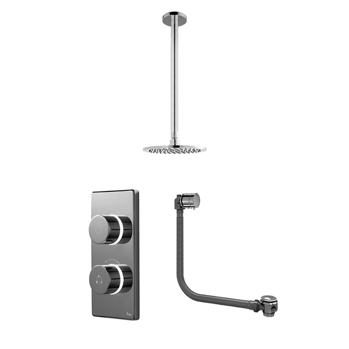 Bathroom Brands Contemporary 2025 Dual Outlet Digital Bath Shower Set with Bath Filler Waste, Ceiling Arm + Round Fixed Head