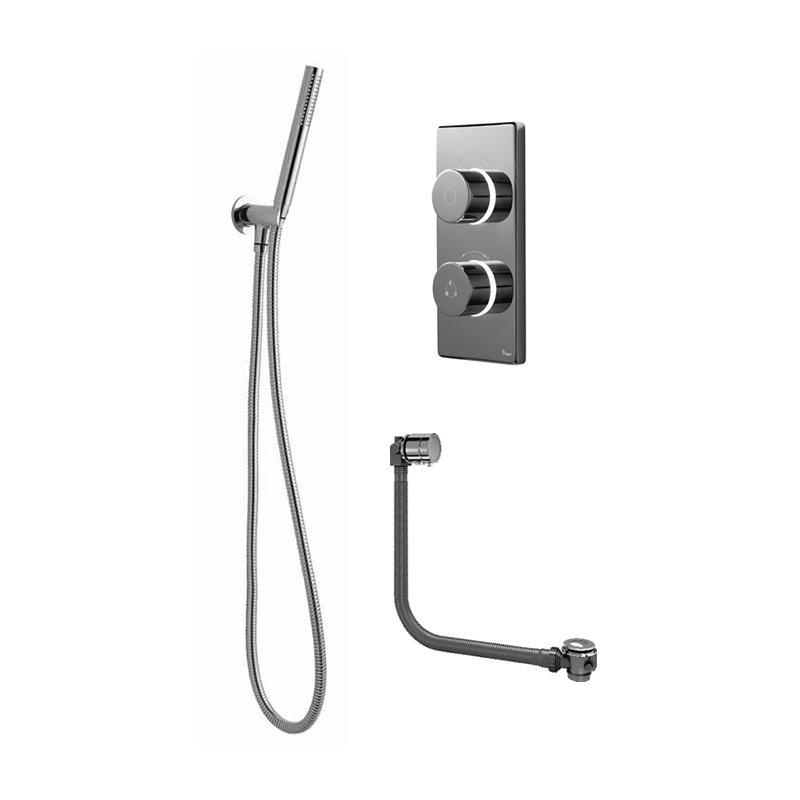 Bathroom Brands Contemporary 2025 Dual Outlet Digital Bath Shower Set with Round Shower Kit + Bath Filler Waste