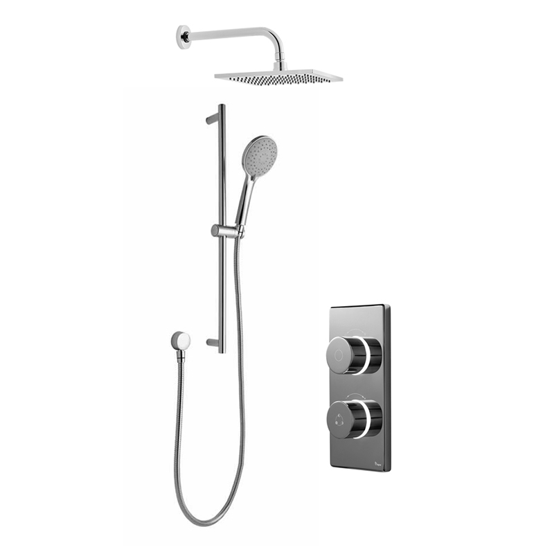 Bathroom Brands Contemporary 2025 Dual Outlet Digital Shower Set with Wall Arm, Slide Bar + Square Fixed Head
